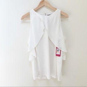 Vince Camuto white cold shoulder blouse S